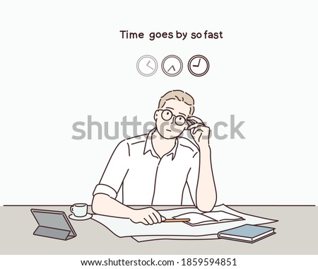 Businessman and the time, time goes by so fast. Hand drawn style vector design illustrations.