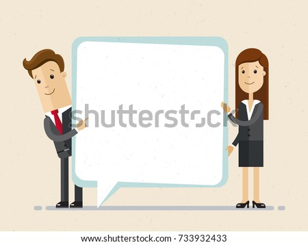 Businessman and woman hold speech bubble.  Vector, illustration, flat