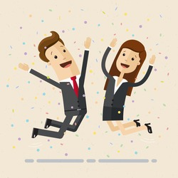 Businessman and woman jump with happiness together.  Business people jumping up celebrating success. Vector, flat