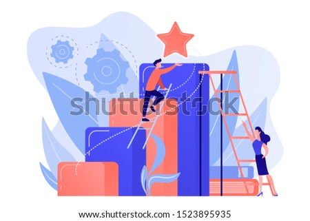 Businessman and woman start climbing ladder. Business and career ambition, career aspirations and plans, personal growth concept on white background. Pink coral blue vector isolated illustration