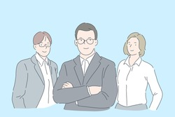 Businessman and woman team concept. Confident business people, reliable colleagues wearing formal style clothes, bankers, stock brokers, lawyers, consulting agency experts team. Simple flat vector