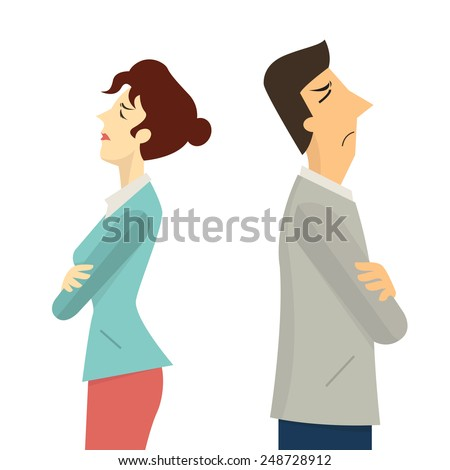 businessman and woman turning