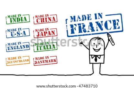 businessman and words - stock vector