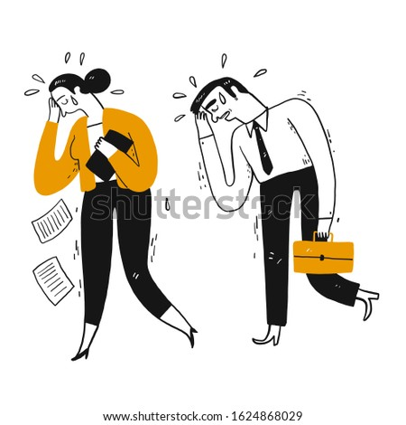 Businessman and workmate are walk crying after losing. Hand drawn doodle style vector design illustrations.
