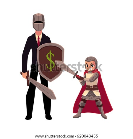 businessman as knight with