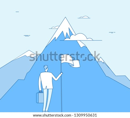 Businessman at mountain. Successful man with flag beginning success achievement. Corporate purpose, achiever vision vector concept