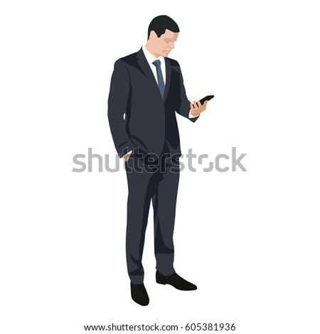 Businessman at work writing sms on mobile phone, flat design vector silhouette. Man in dark suit