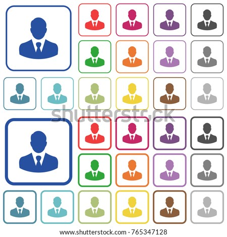 Businessman avatar color flat icons in rounded square frames. Thin and thick versions included.