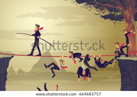 Businessman balancing and walking on rope to cross the gap while competitor falling down. Vector illustration Business Concept