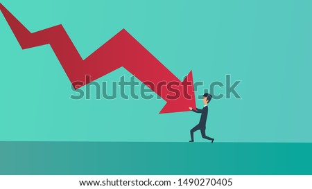 Businessman bankrupt recession loss business vector concept illustration. Man pushed red arrow downward. Failure pressure market cut crisis. Economy debt fall rate. Risk investment currency price