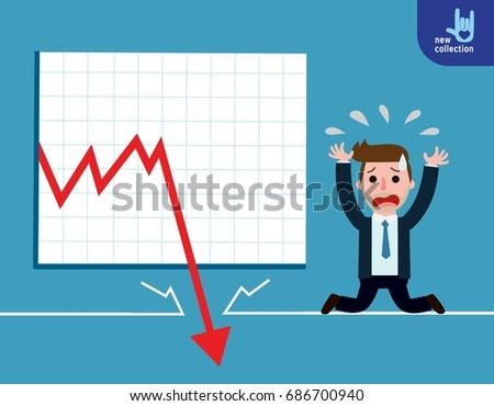 Businessman be sad on the floor as the stock market falls badly.depicts financial failure,bearish stock market, bad sales,business loss, and investment lost.