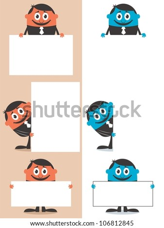 Businessman Behind Sign: Set of cartoon illustrations of a businessman behind sign with copy space. No transparency and gradients used.