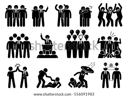 Businessman being a leader. This businessman has leadership skills and he has a lot of friends, networks, admirers, and teammate. The person helps, protect, and leads his associates to success.