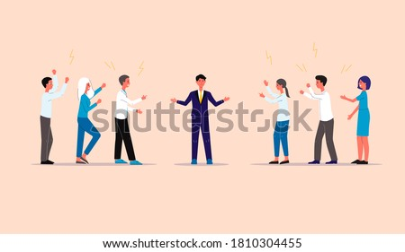 Businessman being mediator between conflicting and arguing groups of people, flat vector illustration isolated on background. Mediation and refereeing in negotiations. Foto stock ©