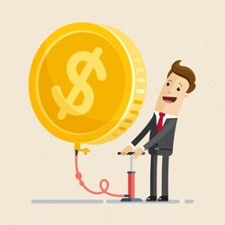 Businessman blowing a balloon in the shape of a gold coin. Sign of dollar on the balloon. Business and finance concept. Vector, Illustration, Flat