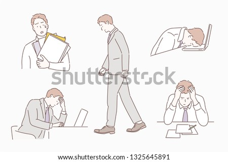 Businessman bored tired exhausted sleeping in the office scene Set. Humor office life. Hand drawn style vector design illustrations.