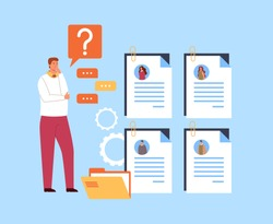 Businessman boss choosing resume candidate. Head hunting recruitment concept. Vector flat graphic simple illustration