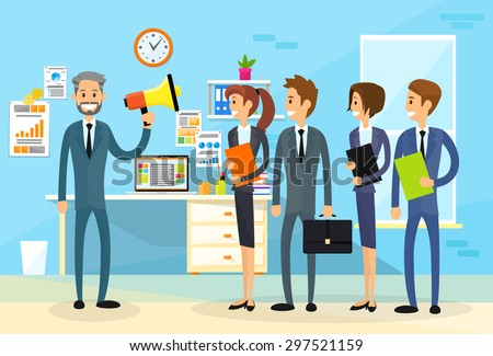 Businessman Boss Hold Megaphone Loudspeaker Colleagues Business People Team Group Working Office Flat Vector Illustration