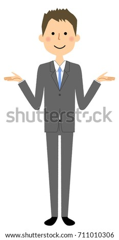 Businessman,Both hands are opened