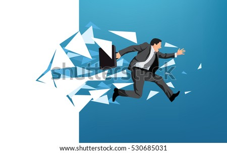 businessman breaking through