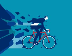 Businessman breakthrough. Concept business activity vector illustration, Flat cartoon office character style design