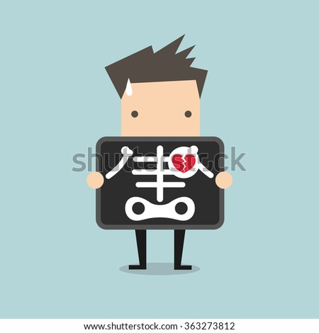 businessman broken heart with x