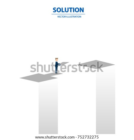 Businessman building bridge over deep hole. Business solution vector concept. Symbol of business success, overcome challenges and ambition. Vector illustration.