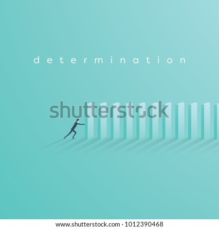 Businessman building domino bricks. Symbol of determination, focus, strategy, plan, stability and future. Eps10 vector illustration.