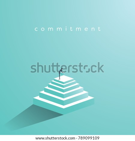 Businessman building steps vector concept. Symbol of determination, commitment, success, motivation, growth. Eps10 vector illustration.