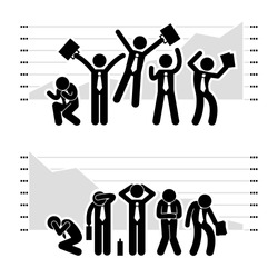 Businessman Business People Winning Losing in Stock Market Graph Chart Stick Figure Pictogram Icon