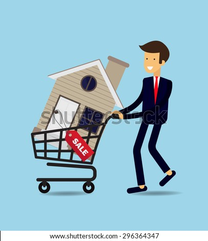 Businessman buy House , vector illustration
