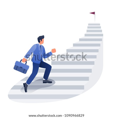 Businessman career development illustration, Male climbing stairs