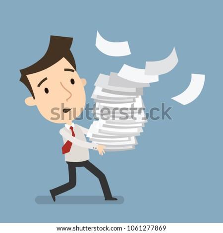 Businessman carries a large bundle of paper, Businessman hurry up, Business concept, Vector illustration