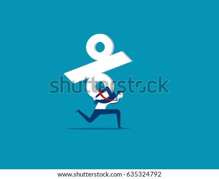 Businessman carrying  percentage sign. Concept business vector illustration.