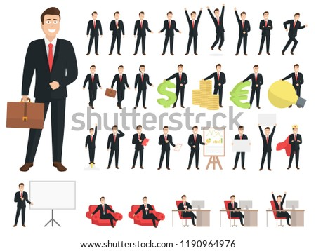 Businessman cartoon character set.