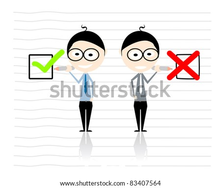 businessman cartoon characters - X & V signs