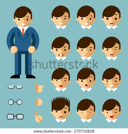 Businessman cartoon emotions. Happy person, people office, manager success, vector illustration