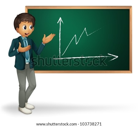 Businessman cartoon presenting on blackboard - stock vector