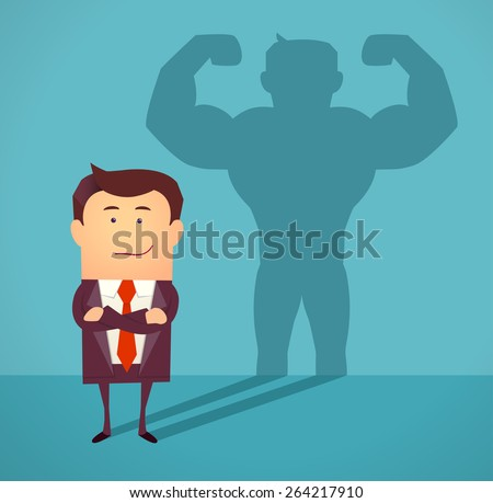 businessman casting strong man
