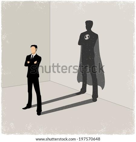 businessman casting superhero