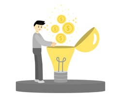 Businessman catching golden coins floating from light bulb. Creative thinking, new idea concept