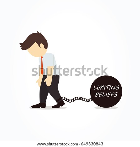 Businessman chained to his limiting beliefs. Vector illustration.