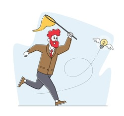 Businessman Character Chasing Flying Light Bulb Trying to Catch with Butterfly Net. Business Man Searching Inspiration, Creative Idea, Financial Success, Opportunity Wealth. Linear Vector Illustration