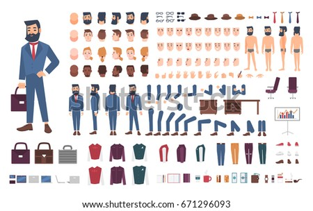 Businessman character constructor. Male clerk creation set. Different postures, hairstyle, face, legs, hands, accessories, clothes collection. vector cartoon illustration. Guy, front, side, back view.