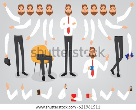 Businessman character creation set build your own design cartoon flat-style infographic