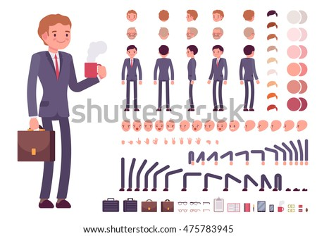 Businessman character creation set. Full length, different views, emotions, gestures, isolated against white background. Build your own design. Cartoon flat-style infographic illustration