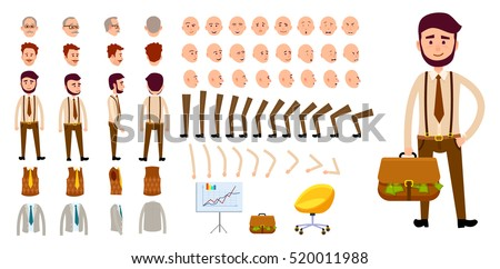 Businessman character creation set. Man with bag of money. Icons with different types of faces, emotions, clothes. Front, side, back view of male person. Moving arms, legs. Chair. Board. Vector