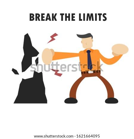 businessman character design breaks the rock. Business concept vector illustration effort and success. break the limit.