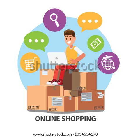 Businessman character design with e-commerce and online shopping icons . Symbols of shop, online payment, customer service and delivery.Cartoon for  business ,