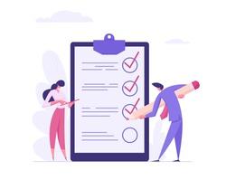 Businessman Character Mark Checklist with Pen. Businesswoman Completion Business Task. Goal Achievements Planning Schedule Concept. Flat Vector Cartoon Illustration
